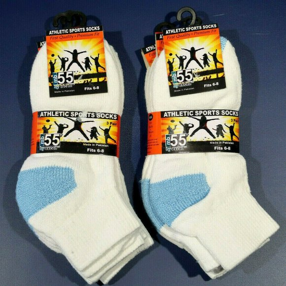 Exell MB55 Ankle Sport socks for Boys Size 6-8 Youth Kid White and Blue 6 Pair
